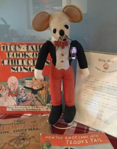 Antique Vintage 1930s Daily Mail Character Teddy Tails and Memorabilia - Rare