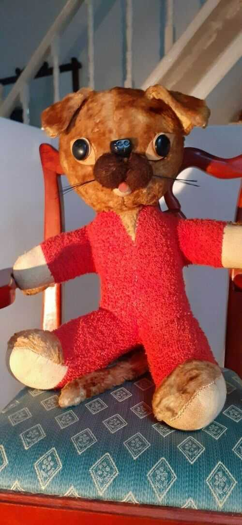 Vintage character mohair and orange fabric cat with bead eyes and whiskers