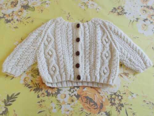 Beautiful Handknit Aran Baby Cardigan - Large Bears