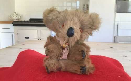 Vintage antique miniature koala bear,hard stuffed real fur toy koala bear