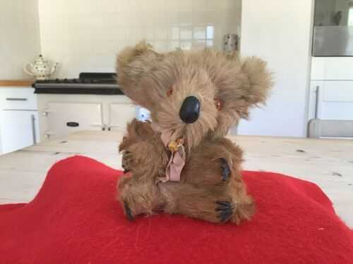 Vintage antique miniature koala bear,hard stuffed real fur toy koala bear
