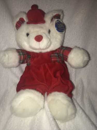Vintage Christmas Teddy In Velvet Dungarees and Cap With Checked Christmas Shirt.