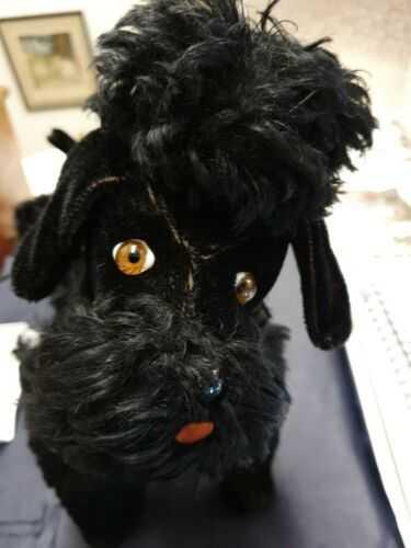 Vintage 1960s Straw Filled Jointed Black Poodle Made In Germany