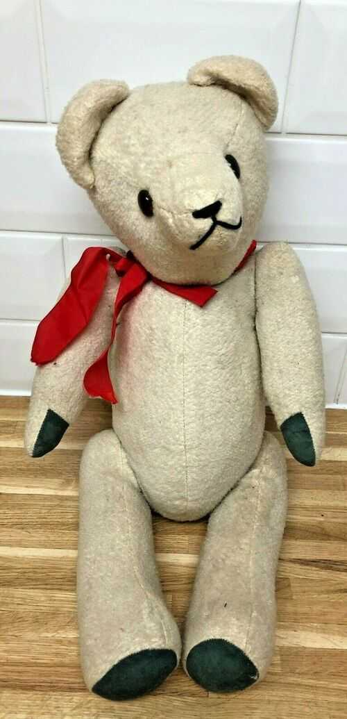 Vintage 1950s Straw Filled Jointed TEDDY BEAR - 23 INCHES -  Cream