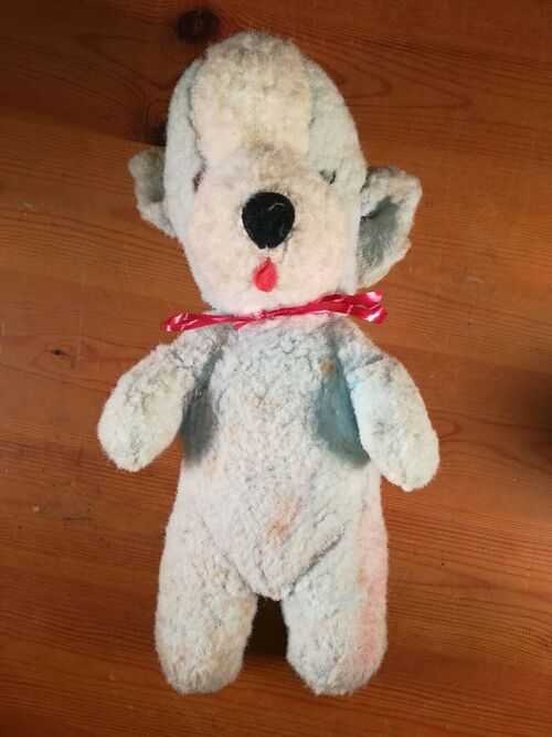 Antique Straw Stuffed Blue Dog Teddy With Red Ribbon