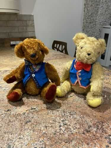 X2 Brown Teddy Bears Collectable Vintage Antique Bears Circus Bears