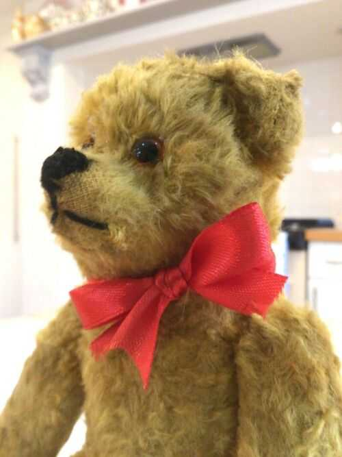 Antique vintage miniature bear,straw stuffed 9 inch toy teddy bear.