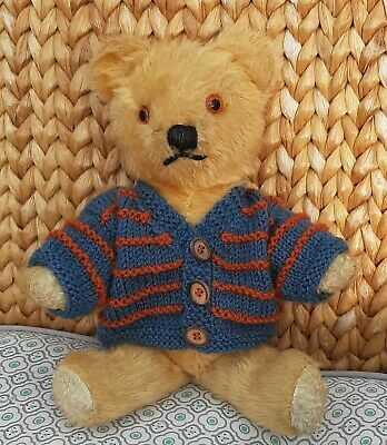 *Bear Knits* Hand Knitted  Cardigan in blue and tan to fit  13