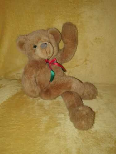Vintage teddy bear posable with full body articulation soft plush toy