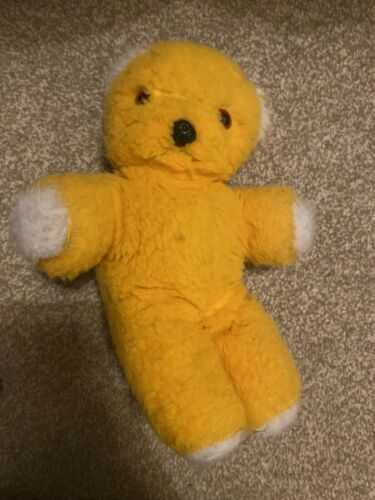 Vintage plush Yellow teddy bear 1970's. Pre-loved