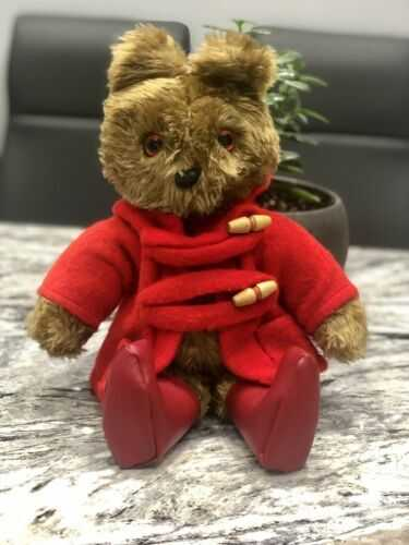 Teddy Bear  - Red Duffle Coat And Red Boots - Movable Limbs