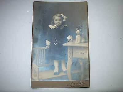 RARE ANTIQUE  PICTURE GIRL WITH CAT-TOYS