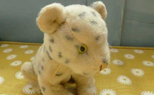 Vintage good quality 1950`s straw filled plush soft toy small leopard cat