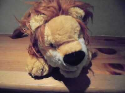 VINTAGE LION SOFT TOY GLASS EYES 14 INCHES BY 7 INCHES FELT TONGUE