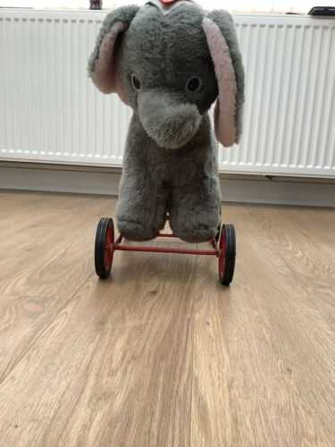 Deans Pushalong Vintage Elephant Dumbo On Wheels Toy