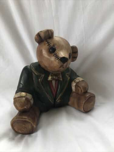 Carved Wood Vintage Solid Wood Teddy Bear 9 InchesTall