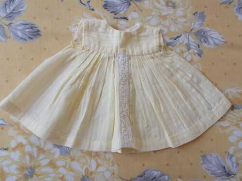 Pretty Vintage Lemon Dress - Old/Antique Dolls/Bears