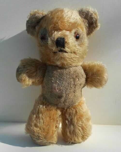 Vintage TEDDY BEAR, Adorable Straw Filled Mohair Stuffed Bear With Glass Eyes